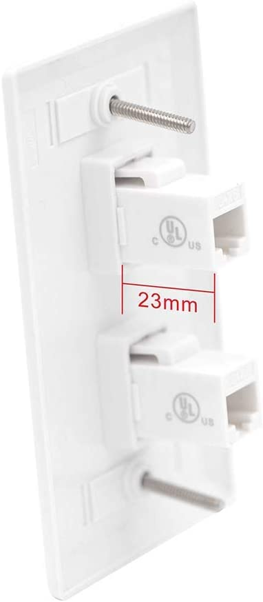 VCE 2-Pack 2 Port RJ45 Cat6 Female to Female Wall Plate UL Listed