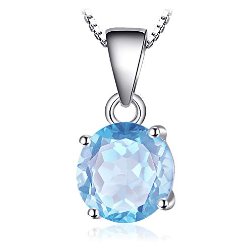 JewelryPalace Gemstones Birthstone Necklace For Women 925 Sterling Silver Solitaire Pendant Necklace For Girls 2.5ct Natural Blue Topaz Necklace Chain Box 18 Inches Round Cut ()