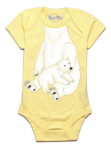 Peek-A-Zoo Infant Baby Become an Animal Short Sleeve Onesie Bodysuit - Polar Bear Yellow (0/6 Months)
