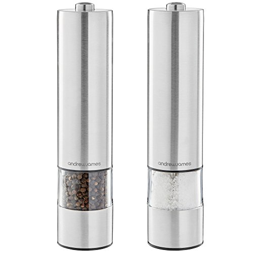 Andrew James Electric Salt and Pepper Mill Set   Battery Operated Brushed...