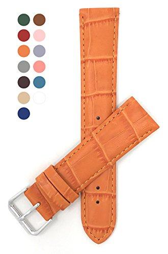Strap Alligator Orange (20mm Orange Womens' Alligator Style Genuine Leather Watch Strap Band)