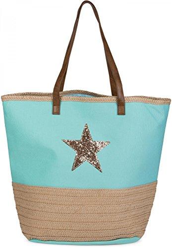 Femmes Turquoise Besace De Plage 02012058 Couleur Dessin Et Shopper Paillettes Rabane beige Bain Sac Étoile Stylebreaker qPCg11
