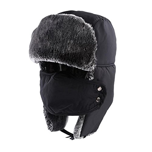 KOBWA Unisex Winter Trapper Hat Ushanka Trooper Bomber Cap with Ear Flap  Chin Strap Mask for 5db0c882d93e