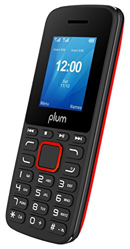 "Plum Unlocked Cell Phone GSM Worldwide Dual Sim Camera FM Radio Bluetooth MP3 Player SD Card Slot Feature, 1.8"" - Red"