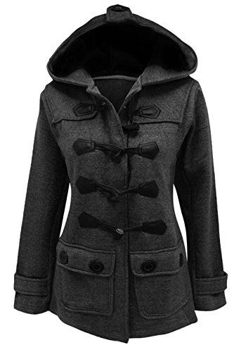 cexi COUTURE FEMMES polaire style duffle bascule manteau capuche veste chaude Gris charbon