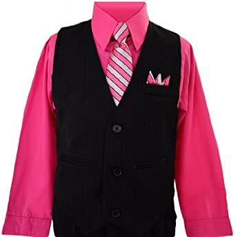Size 7 Black n Bianco Boys Toddlers Fuchsia Pink Pinstripe Vest Suit Dress-wear with Shirt