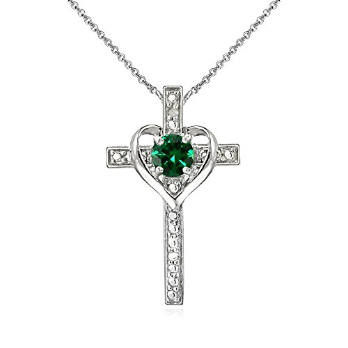 Emerald Religious Cross - Sterling Silver Simulated Emerald Cross Heart Pendant Necklace for Girls, Teens or Women