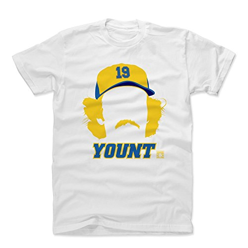500 LEVEL Robin Yount Cotton Shirt (X-Large, White) - Milwaukee Brewers Men