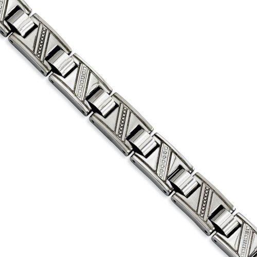 Icecarats Acier Inoxydable De Bijoux De Créateurs Polie W / 8.5In Diamants Bracelet En 8,5 Pouces