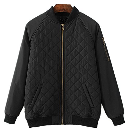 Season Show Women's Warm Stand Collar Lined Bomber Jacket Padded Coat Black US 8-10 (Season Bomber Jacket)
