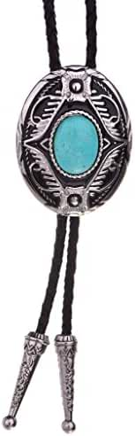Huabola Authentic leather natural turquoise western tie bolo