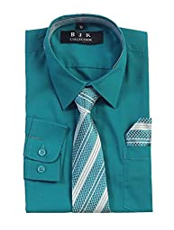 BJK Collection Boys\' Solid Long-Sleeve Button-Down Dress Shirt 6 Teal