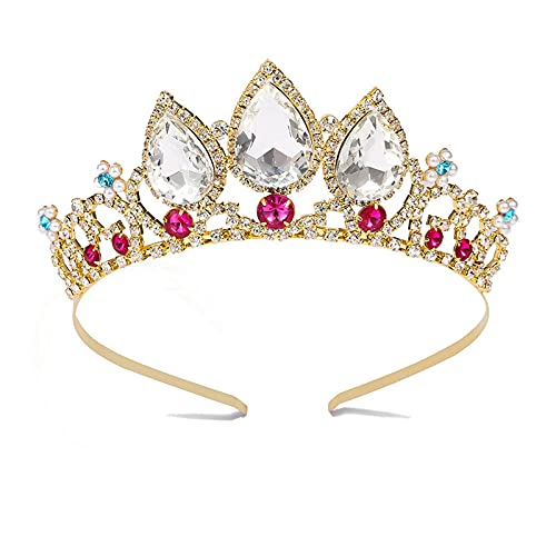 Princess Girls Crowns Tiara Metal Headband Crystal Flower Birthday Party Wedding Hair Accessories, Gold Ruby Blue
