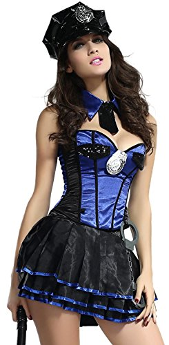 [Booty Gal Women's Sexy Role Play Cosplay Police Costume Set For Hallowmas] (Homemade Catwoman Costume For Children)