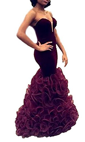 Wedding Evening Prom Gown (AngelaLove Velvet Sweetheart Prom Dresses With Mermaid Evening Formal Gowns Wedding Dresses (6, Burgundy))