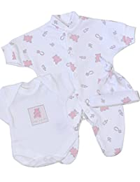Premature Early Baby Girls Clothes 3 Piece Set - Sleepsuit, Bodysuit & Hat 1.5lb - 7.5lb PINK TEDDY P2