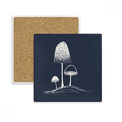 Cute Cartoon Mushroom Illustration Square Coaster Cup Mug Holder Absorbent Stone for Drinks 2pcs Gift
