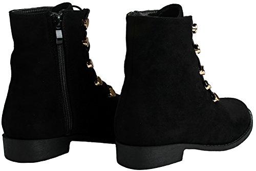 mujer sintética cordones elásticos ojales mujer tobillo de con cremallera y JJF Para botas Shoes para Negro Gamuza dorados con lateral planos Y0wnqEHF