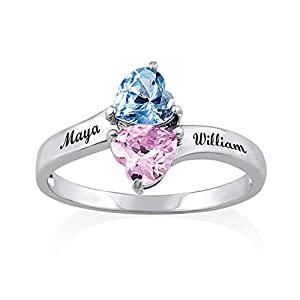 Hua Meng Two Heart Shaped Birthstones Engraved Ring - Personalized Name Ring Promise Rings Made Gift for Her