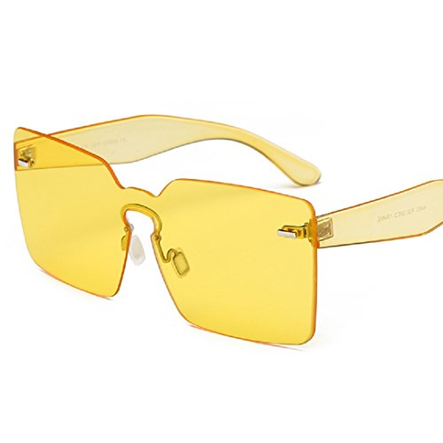 YABINA Spring Summer Oversized Women Square Sunglasses Fashion Men Rimless Tint Lens Glasses - Rimless Eyewear Brands