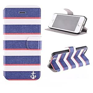Mini - Blue and White Stripes PU Full Body Case with Card Slot and Stand for iPhone 5/5S