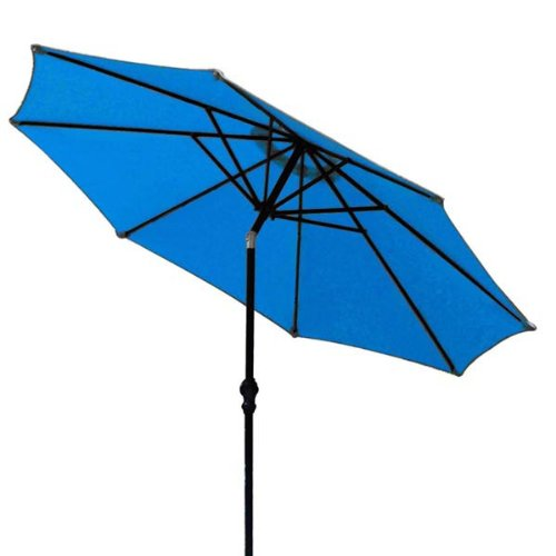 9 Foot Outdoor Patio Tilt Umbrella Furniture with a Blue Canopy