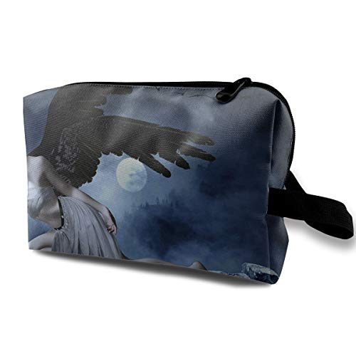 Halloween Angel Wings Banshee Sexy Multi-function Travel Makeup Toiletry Coin Bag Case ()