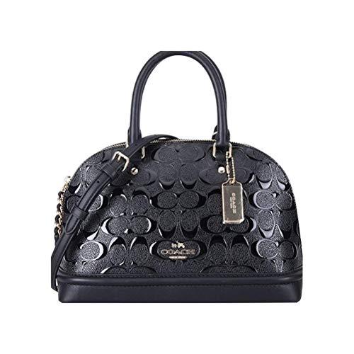 COACH Mini Sierra Satchel In Signature Debossed Patent Leather (Black)