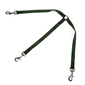 "Guardian Gear 12"" Nylon 3-Way Medium Dog Coupler with Nickel-Plated Swivel Clip, Hunter Green"