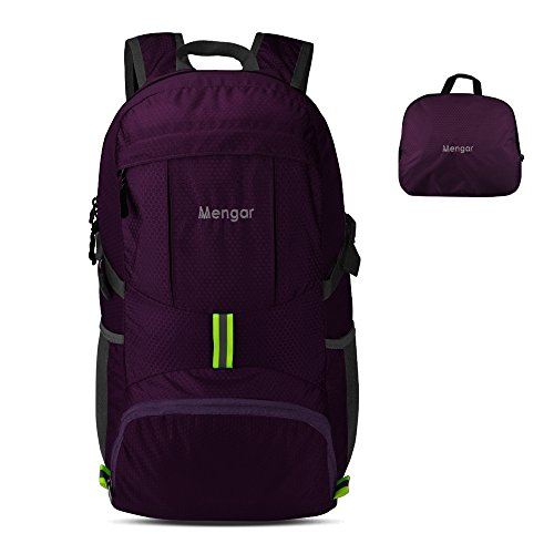 Backpack Daypack,Travel Backpack, Mengar 35L Foldable Water Resistant Packable Backpack Hiking Daypack - Ultralight and Handy & Lifetime Warranty (Purple)