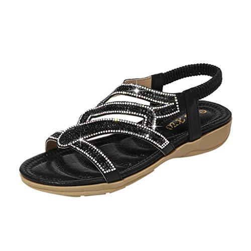 Women Flat Wedge Sandals Casual Bohemia Ankle Wrap Open Toe Crystal Shoes (US : 8.5, Black)