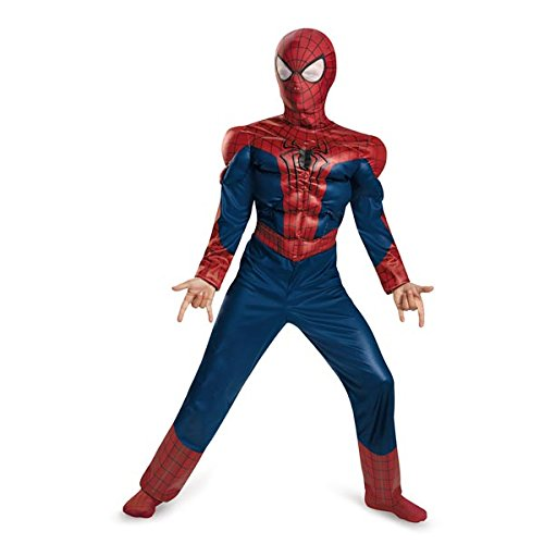 Spiderman Costumes Movie (Disguise Marvel The Amazing Spider-Man 2 Movie Spider-Man Classic Muscle Boys Costume, Medium/7-8)