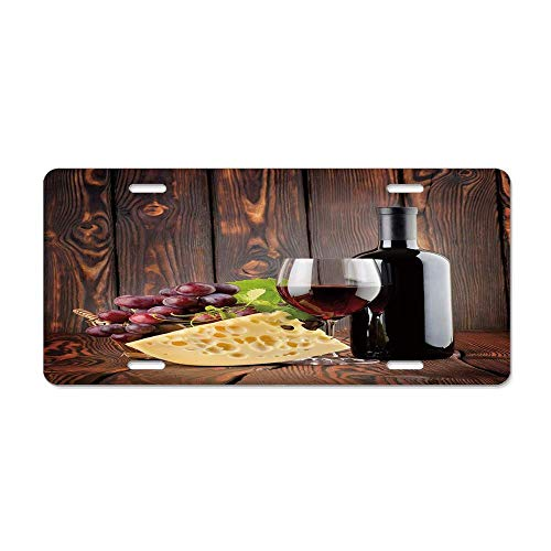 (Kingsinoutdoor Wine,Red Wine Cabernet Bottle and Glass Cheese and Grapes on Wood Planks Print,Brown Burgundy Cream Aluminum License Plate Novelty Auto Car Tag Sign License Plate (12 X 6))