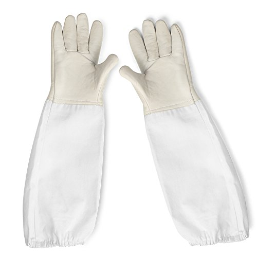 Flexzion Beekeeping Gloves Canvas Protective Bee Keeping Supplies Equipment with