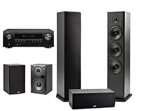 Polk Audio T Series 5 Channel Complete Home Theater System & Denon AVR-S650H Receiver | Two (2) T15 Bookshelf, One (1) T30 Center Channel, Two (2) T50 Tower Speakers | Wi-Fi, Alexa, HEOS Built-in