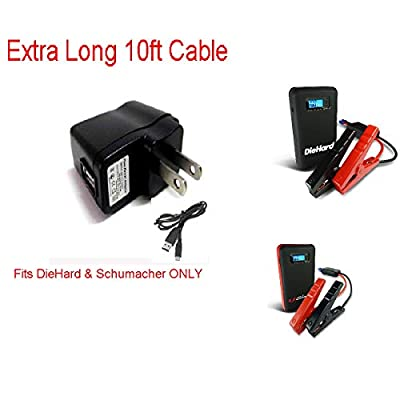 Long 10ft Replacement Charger Set for Slim Portable Jump Box Jump Starter Die Hard 400 & Schumacher by Pure Power Adapters