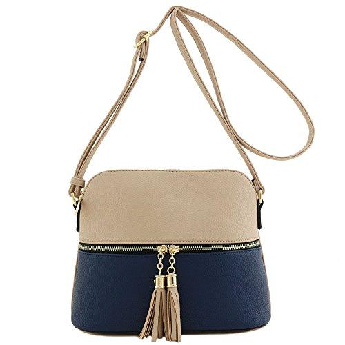 Beige Navy Pocket Tassel Crossbody Bag Zipper xXIUwqHFOw