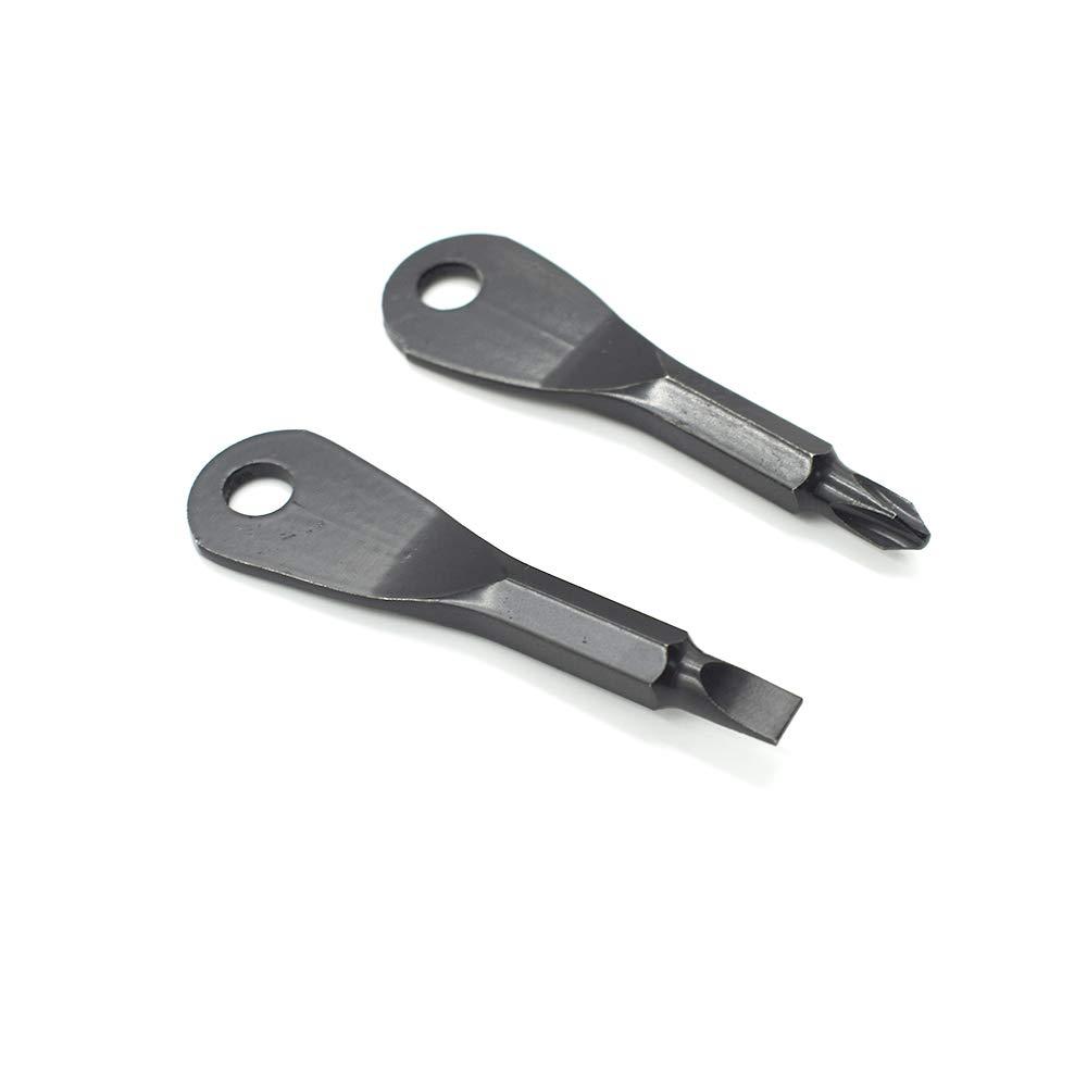 Cyful Tool Screwdriver Set 2 Key Outdoor Multifunctional Pocket Mini Stainless Steel Keychain Black (1 Set )