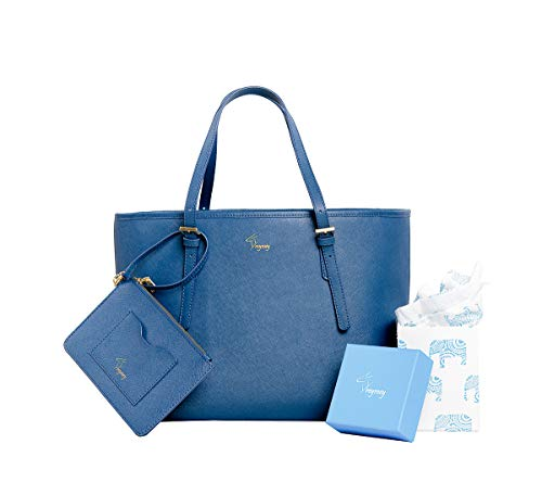 Women Spacious Handbag Large Pockets Wristlet Genuine Saffiano Leather 2pcs Set ()