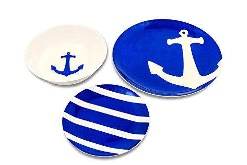 Camco Blue and White Nautical Design 12 Piece Dishware Set-Includes Marine Style Plates and Bowls | Perfect Boating, Sailing, Fishing, The Beach and More | Melamine Material (41951) (Kitchen Set Nautical)