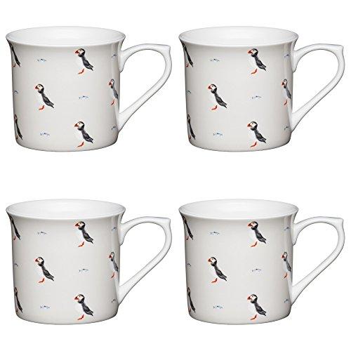 Kitchen Craft Fine Bone China 'Puffin' Fluted Printed Bird Mugs, 300 ml - White/Grey (Set of 4)