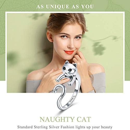 Bijoux Blu Silver Cat Bague en Argent Sterling 925 v/éritable Queue de Chat Coquin Doigt pour Femme Taille r/églable
