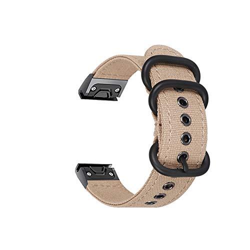 SplenSun Quick Fit Canvas Band Replacement for Garmin Forerunner 935/945,Fenix 5 Plus,Marq Collection Series,D2 Delta Smartwatch,Breathable&Lightweight Straps for Approach S60,Quatix 5(Khaki)