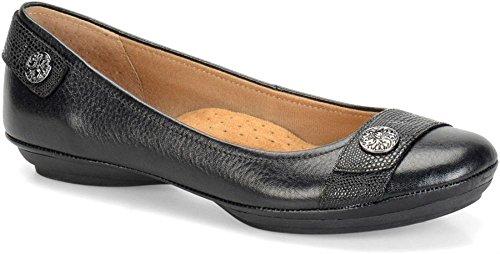 Women's Soft Slip on Spots Flats Satara Black cute raxRrw