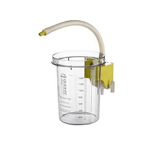 Bemis Healthcare 1500SC 10 Bemis Healthcare Quality Medical Products 1500CC Reusable Outer Hospital Grade Suction Canister, w/Attached Yellow Stockcock Bracket - Product Number : #1500SC 10
