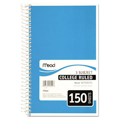 "043100069003 - Mead 3-Subject Wirebound College Ruled Notebook, 9.5"" x 6"" carousel main 1"
