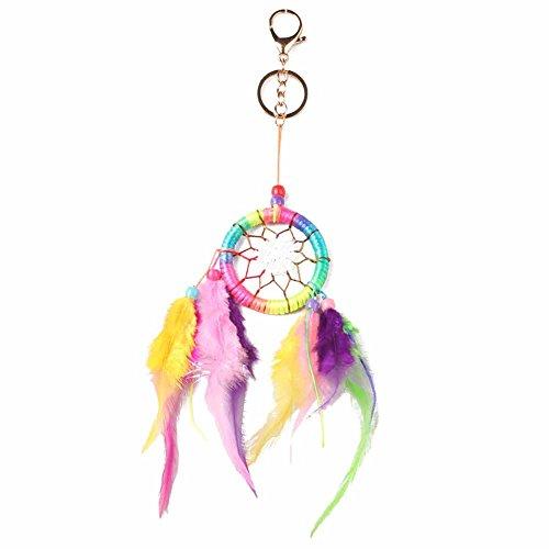 BAOBAO Colorful Dream Catcher Feather Tassel Beaded Pendant Keychain Car Bag Keyring
