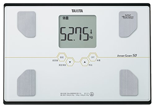 TANITA [weight 50g unit display] & [equipped people to ''Pita function ride'' shed and somewhere south the riding] body composition meter inner scan 50 Pearl White BC-313-WH by TANITA