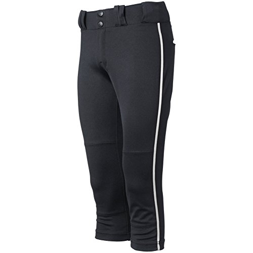 Ladies Piping - Champro Women's Tournament Fastpitch Pant with Piping, Black/White, Medium
