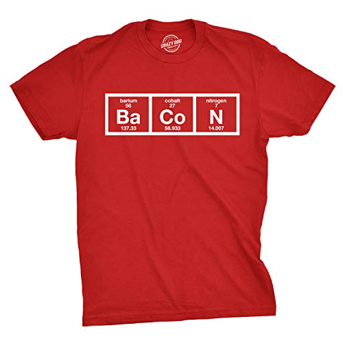 Mens The Chemistry of Bacon T Shirt Funny Brunch Periodic Table Science Tee (Red) L